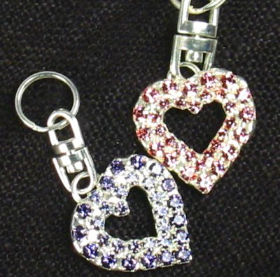 Beautiful Open Heart Charm in Tanzanite or Lt. Rose