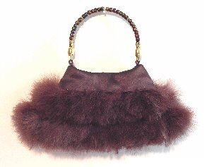 Beautiful Chocolate Satin handbag with Chocolate Marabou Fringe Handbag