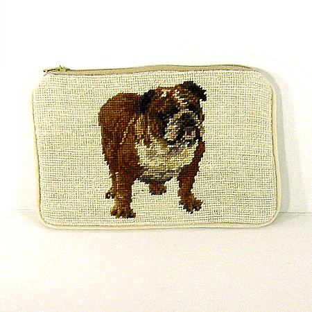 Bulldog Needlepoint Purse